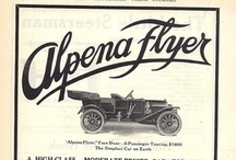 Alpena Motor Car Ads / The Alpena was an American automobile manufactured between 1910 and 1914 in Alpena, Michigan. The Alpena Flyer was designed for speed using unit engine/gearbox construction with three-point suspension. The patentee of this design, Emile Huber, brought suit against the company for using it without permission, and the car manufacturer was fined $400,000 for the offense.
