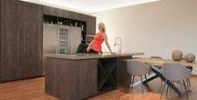 Cucina Airone / Cucina in legno rovere nodato verniciato. Disponibili tutti i colori.