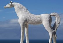 WHITE HORSE CERAMIC SCULPTURES / Carol Hayward Fell - South Africa. My Ceramic horses are handmade in stoneware and porcelain clay. They are very expressive and inspired by horses from a variety of ancient civilizations . I exhibit them in several galleries in South Africa.