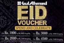 Eid Celebrations 2014 / Eid brings #happiness and #blessings and with that it brings GulAhmed #Eid #Discount #Vouchers Lets #Celebrate the amazing Festival together, dress up with #GulAhmed and look dazzlingly glamorous this EID. Like & #Tag your #friends and #family and share the celebrations!  Eid Vouchers available at all Ideas by GulAhmed and GulAhmed exclusive stores starting from today till Chand Raat. Visit us for amazing Eid #Celebrations.