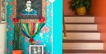 Mexican Colours in Homes & Gardens / Brightly painted Mexican-inspired homes and gardens