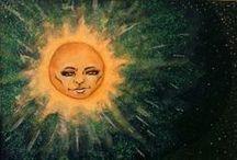 ART: sun moon stars / Artwork and imagery featuring the sun, the moon, the stars, and the heavens. / by Karen Ziemkowski