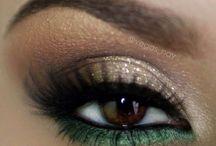 Moodboard Daniëlle / Mooie make-up met focus op de ogen. Gebruik van warme kleuren zoals goud, bruin in combinatie met groen. Haar half opgestoken, met vlecht er in verwerkt!