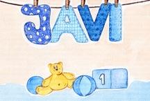 Cuadros bebe nombre / Cuadros bebe con el nombre del niño o niña personalizado, pintados a mano con pintura y acuarela, para la habitación o cuarto de los más pequeños de la casa