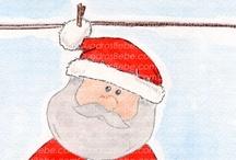 Cuadros bebe Navidad / Cuadros bebe de Navidad, pintados a mano con pintura y acuarela, para la habitación o cuarto de los más pequeños de la casa para decorar su espacio en esta época del año de forma infantil