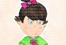 Cuadros bebe muñecas / Cuadros bebe de muñecas, pintados a mano con pintura y acuarela, para la habitación o cuarto de las más pequeñas de la casa para decorar el espacio de las niñas con dibujos infantiles enmarcados
