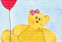 Cuadros bebe globos / Cuadros bebe de globos que elevan de forma graciosa peluches y objetos, pintados a mano con pintura y acuarela, para la habitación o cuarto de los más pequeños de la casa para decorar el espacio de los niños con dibujos infantiles enmarcados