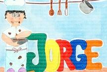 Cuadros bebe profesiones / Cuadros bebe de profesiones, con la pregunta de ¿qué quiero ser de mayor?, pintados a mano con pintura y acuarela, para la habitación o cuarto de los más pequeños de la casa para decorar el entorno de los niños con dibujos infantiles enmarcados