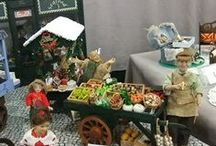 shopping barrows booths / miniature and full sized informal vendors.