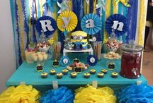 Minion Birthday Party - dessert table / Minion themed - everything blue and yellow