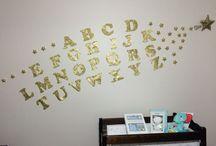 Baby nursery decoration gold glitter alphabet with stars / Alphabet gold glitter with glitter stars