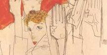 "artist:  EGON SCHIELE 1890-1918 / A leading figure in the 'Expressionist"" movement. Born in Austria in 1890. At 17 he became a protege of Gustav Klimt, (then 45).They both died in the same year 1918. Schiele died 3 days after his pregnant wife,"