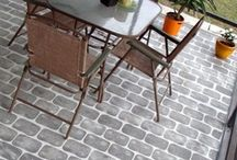 Painted Cement Patios and Walkways / Have a boring slab cement walkway or patio that you'd like to fancy up, without the expensive cost of real stonework?   Add some color and WOW by painting on faux stone or brickwork, or even a painted area rug!