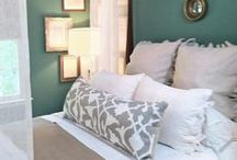 Master Bedroom Ideas and Colors / Our updated Master Bedroom  (It was a greenish teal.) Now I will be pairing the Riverway accent wall with a soft white. Glad to see how well it works before painting.