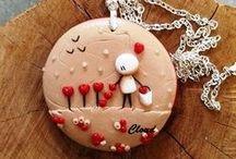 Cloud pendants / Handmade pendants in polymer clay
