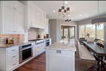 Custom Kitchen Ideas / Custom kitchens in some of our favorite homes. Get inspiration for colors, cabinetry, floors, design, space planning, light fixtures... and more!