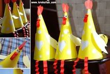 kuřátka, slepičky, kohoutek, kachna