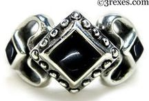 Black Gothic Wedding Rings & Medieval Silver Jewelry By 3 Rexes Jewelry / Silver Medieval fairy tale rings with black Gothic stones!