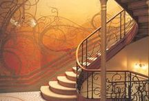 art noveau / An 1890 style of art, architecture, and design filled with organic curves and whimsical style.