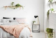 room revamp / Design ideas for my bedroom that I am working on upgrading. I want a fresh minimalistic look. Clutter free design with some clean lines and organic textures. I want pops of colors and a few plants. I want timeless elegance.