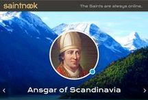 Ansgar of Scandinavia / A selection of statues, paintings and stained glass on St Ansgar of Scandinavia. He is generally portrayed as a man holding the catheral of Hamburg, Germany, and or wearing a fur pelise.   saintnook.com/saints/ansgarofscandinavia