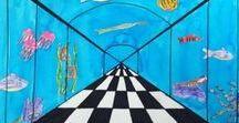 Tegne perspektiv / tegne perspektiv -  lære om forgrunn /bakgrunn i eit bildet. Skape illusjoner.