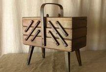 WOOD - SEWING BOX / and tea box