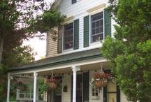 Curb Appeal / Ideas for adding cottage style and farmhouse curb appeal, including ideas for paint color combinations.