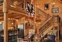 Staircases / So many options for rustic log home stairwells...