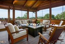 Porches & Decks / The covered porch has long been a staple with log homes - its timeless appeal provides great outdoor living space and is one of the most common 'green building' features.