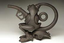 Steampunk-ish ceramics, drawings/paintings and mixed media art