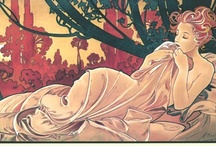 Mucha, Alphonse / Alphonse Mucha (1860-1939) was a Czech painter and decorative artist born in southern Moravia, a Slavic province of the Austro-Hungarian Empire. Mucha was among the first persons to be arrested by the Gastapo. During the course of his interrogation, the aging artist fell ill w/pneumonia. Though eventually released, he never recovered from the strain of this event, or from seeing his homeland invaded & overcome. He died in Prague on 7/14/1939 of a lung infection, and was interred there.  / by Nancy Shogren