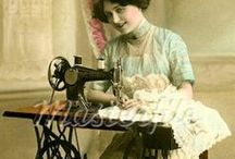 Making Fashion / Historic images documenting the making of dress and dress accessories.  Including darning and mending