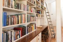 Home Library / Exquisite home library with study desk. Built within the re-purposed Libcombe Hospital luxury residences. An impressively tall federation room allows for an equally impressive tall book case. Higher shelves are accessed by a rolling library ladder with stainless steel frame and timber treads.