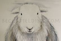 Herdwicks / Some of my own Herdwick sheep watercolour paintings and other groovy Herdwicks!