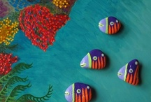 Tropical Sea / Interactive Paintings not just for Kids. Painted Stone Magnets on Painted Iron Plate background.