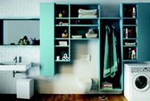 Une buanderie dans ma salle de bains / Des idées pour installer lave-linge et sèche-linge dans la salle de bains