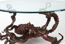 Amazing Bronze octopus table & more / Bronze marine life tables and sculpture of world renown bronze Sculptor.