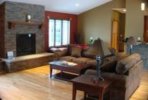 Cozy Family Rooms / A collection of cozy family rooms with warm wood, welcoming fireplaces, custom built-ins, entertainment centers and bookcases.