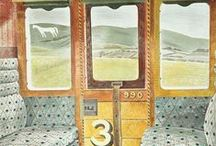 """Eric Ravilious / Eric Ravilious (1903—1942), British painter, designer, book illustrator and wood engraver. Ravilious was inspired by the Sussex Downs. He wrote: """"The Downs shaped my whole outlook and way of painting because the colour of the landscape was so lovely and the design so beautifully obvious.""""  As a commercial artist, he worked for Wedgwood and London Transport, among other highly visible clients. He became an Official War Artist during WWII  and was killed on a rescue mission in the North Atlantic."""