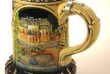 German Beer Steins / Traditional designs, beautiful etchings and artwork, and all made in Germany!