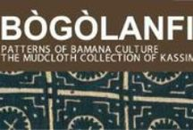 "Bogolanfini & Traditional African Cloth / Bogolanfini also bokolanfini, is from the Bamana people of West-Central Mali. In Bamana bogolan refers to mud,  fini to cloth, thus the literal translation of ""mud cloth."" KUBA cloth is woven from long threads of raffia palm leaves in Congo. Kuba cloth functioned as a versatile currency, until it was displaced by cowrie shells. Men traditionally grow, tend, and harvest palms, as well as weave cloth.  Today, both men and women participate in decorating the cloth."