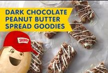 Dark Chocolate Peanut Butter Spread Goodies / Chocolate lovers beware: These recipes with our Peanut Butter Spread with Dark Chocolate take desserts to the next level of YUM!