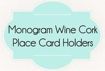 Monogram Wine Cork Place Card Holder