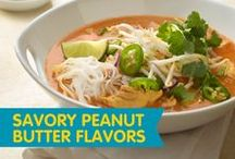 Savory Peanut Butter Flavors / So you've nailed the sweet peanut butter recipes, now try whipping up some savory creations! Get inspired by these delicious peanut butter recipes.