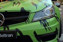 """Mercedes Benz C63 AMG en vinilo Camouflage Autobeltran - Car Wrapping by Pronto Rotulo since 1993 / Nos enviaron un Mercedes-Benz AutoBeltrán Barcelona Clase C63 AMG (bruto aparato) en Color Gris e imprimimos en material removible los diseños que le dan un toque mas Camouflage no? Cuando lo terminamos con todos los detalles (parrilla, espejos, portavacas, etc), hemos visto que el MB parecía un """"Hummer"""" por lo que cantaban las llantas AMG grises, por lo que nos pusimos a la obra y las pintamos de Negro Mate  + info en http://www.prontorotulo.com/ + info en https://www.facebook.com/prontorotulo  / by Pronto Rotulo"""