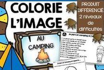 Au camping / Activités pédagogiques pour les élèves du primaire sur le thème du camping. Des guimauves, un feu de camp, des saucisses grillés, une tente, une lanterne, une lampe de poche, une chaloupe, etc.