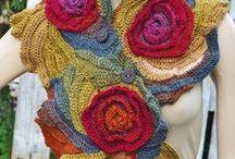 crochet flower scarf, dress, top / Crochet knit dress, top, scarf