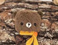 Bear brooches by KodamaLife / Bear brooch, teddy bear, hare brooches, rabbit brooches, fox brooches