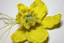 flores crochet y tela